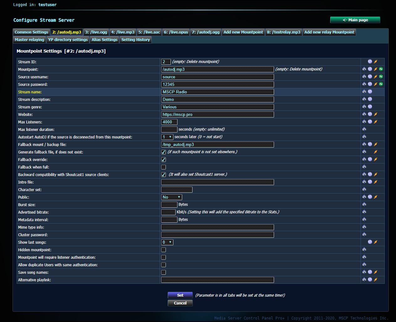 Stream Server Configuration